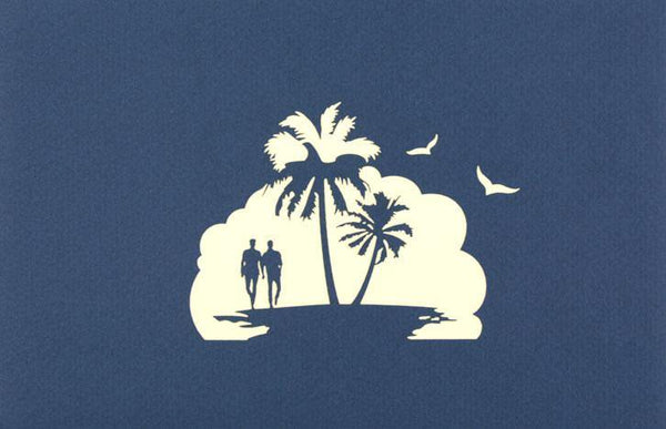 Two men walking on the beach - Henry Pop-Up Cards