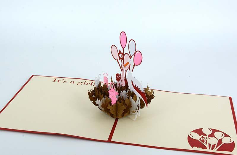Stork Carrying a Girl 3D - Henry Pop-Up Cards