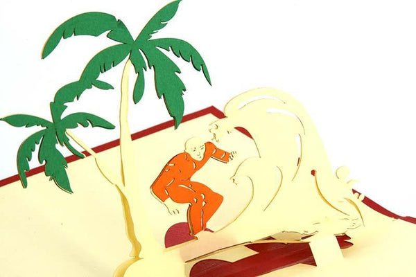 Surfing and Palm Trees - Henry Pop-Up Cards