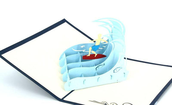 Surfing on big wave - Henry Pop-Up Cards