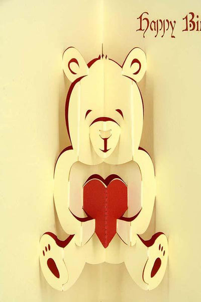 Teddy holding heart Happy birthday - Henry Pop-Up Cards
