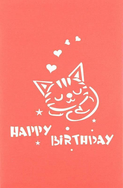 Two Cats in box Happy birthday - Henry Pop-Up Cards