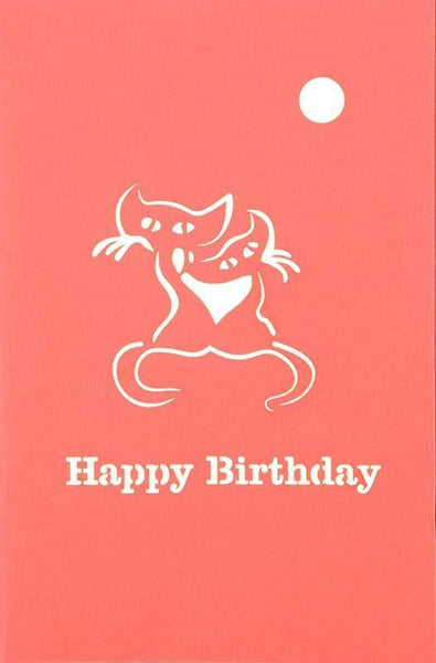 Two Cats on Branch Happy Birthday - Henry Pop-Up Cards