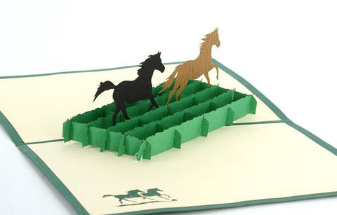 Two Horses 3D - Henry Pop-Up Cards