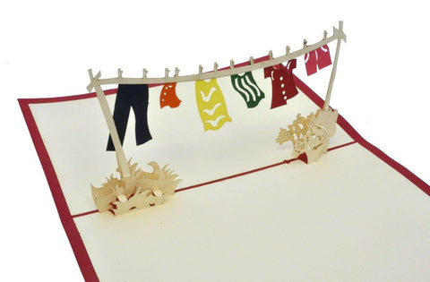 Clothes on Washing Line - Henry Pop-Up Cards