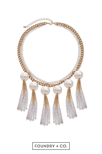 Chryseis Pearl and Chain Necklace in Gold and Silver [LAST PIECE]