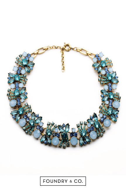 Bacchus Wreath Gem and Crystal Necklace in Blue [66% OFF]
