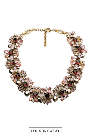 Bacchus Wreath Gem and Crystal Necklace in Pink [38% OFF]