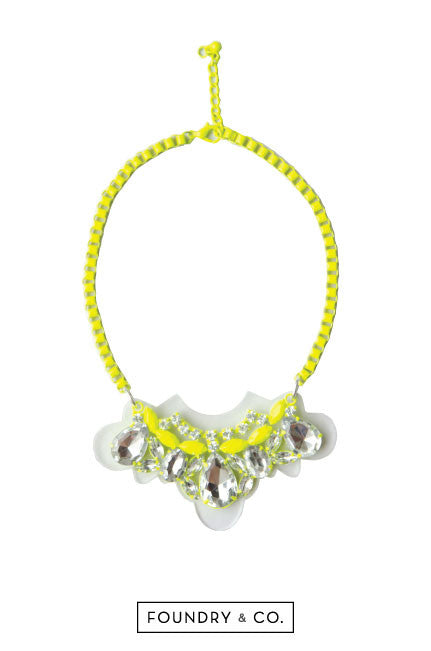 Hygeia Metal and Acrylic Necklace in Neon Yellow [54% OFF]