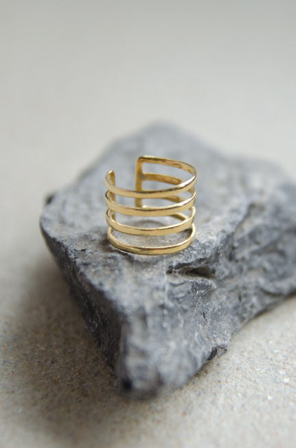 Hyperion Three Tier Ring in Gold