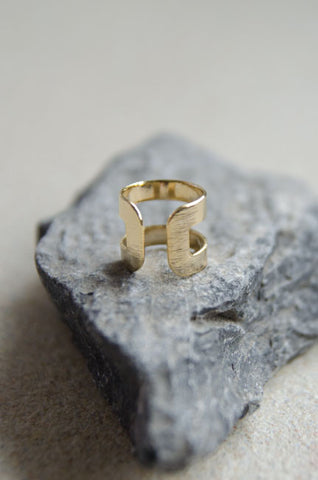 Gorgons Duo Ring in Brushed Gold [LAST PIECE]
