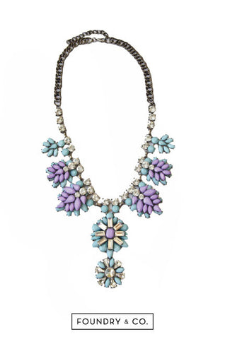 Juventas Crystal and Gem Necklace in Blue and Purple [38% OFF]