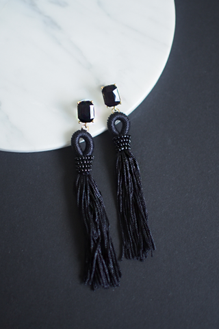 Adar Tassel Earrings in Black