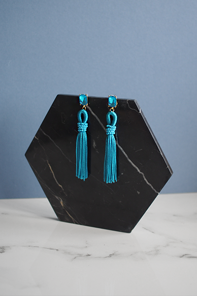 Adar Tassel Earrings in Blue