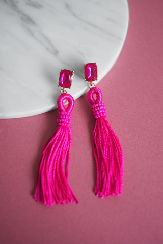 Adar Tassel Earrings in Pink