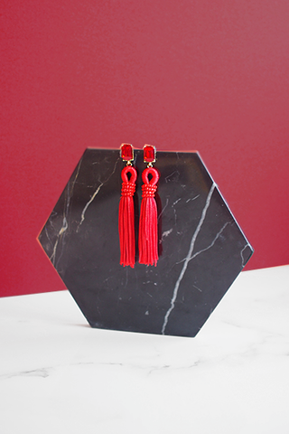 Hadassah Ear Pom Tassel in Black & Red [27% OFF]