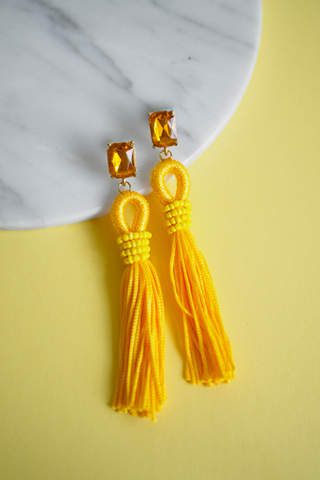 Adar Tassel Earrings in Yellow [27% OFF]