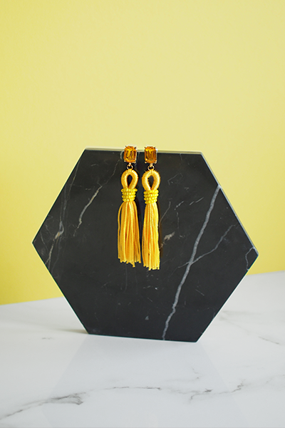 Adar Tassel Earrings in Yellow
