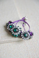 Admetus Trio Crystal Wrap Bracelet (Green/Purple) [65% OFF]