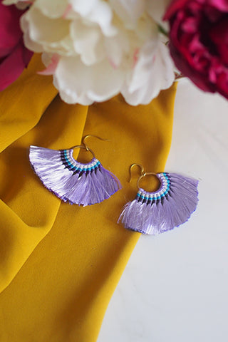 Amaris Fan Earrings in Purple [20% OFF]