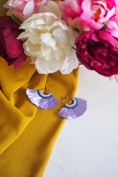 Amaris Fan Earrings in Purple