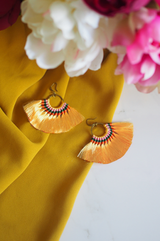 Amaris Fan Earrings in Yellow [20% OFF]