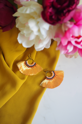 Amaris Fan Earrings in Yellow