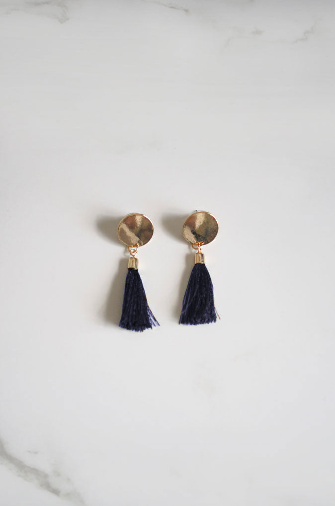 Anda Tassel Earrings in Navy