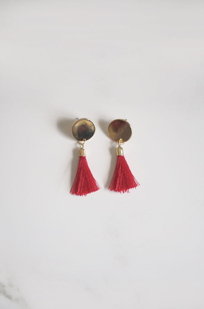 Anda Tassel Earrings in Red