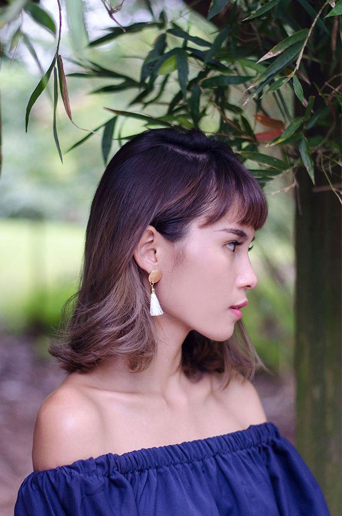 Anda Tassel Earrings in White