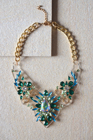 Rodite Crystal Gem Statement Necklace in Green [LAST PIECE]