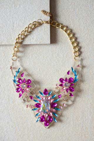 Rodite Crystal Gem Statement Necklace in Pink [LAST PIECE]