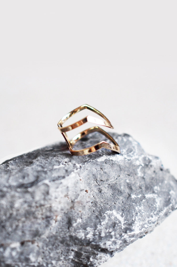 Armour Stacked Ring in Gold [38% OFF]