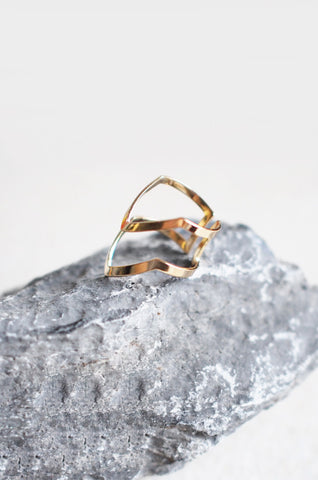 Armour Stacked Ring in Gold
