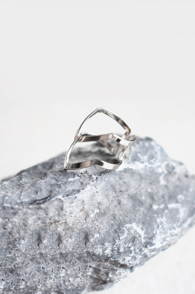 Armour Stacked Ring in Silver