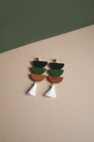 Ava Semi Circle Wood Earrings in Black and Green [20% OFF]