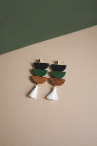 Ava Semi Circle Wood Earrings in Black and Green [27% OFF]