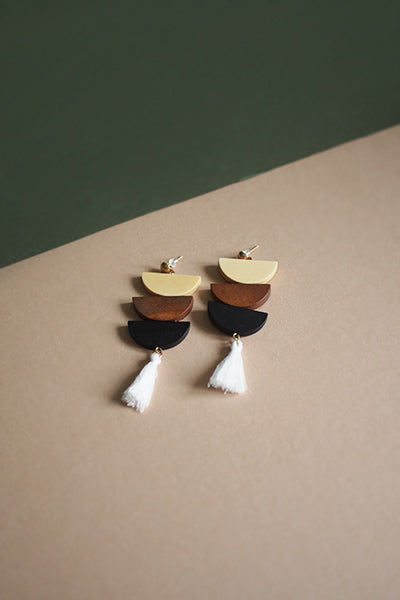 Ava Semi Circle Wood Earrings in Cream and Black [20% OFF]