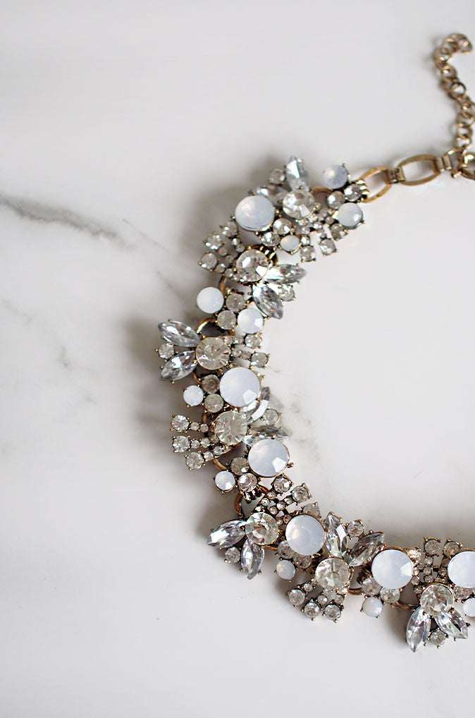 Bacchus Wreath Gem and Crystal Necklace in White