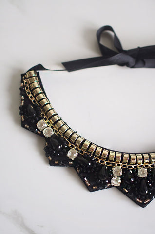 Ata Trio Gem Beaded Necklace in Black [47% OFF]