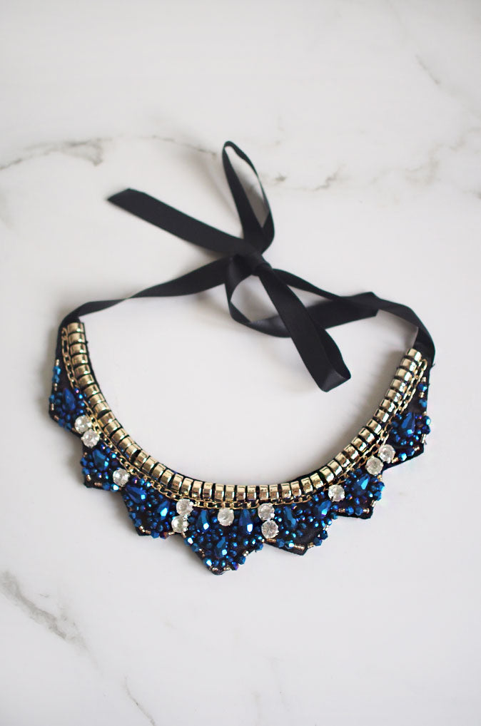 Ata Trio Gem Beaded Necklace in Blue