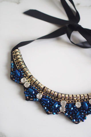 Ata Trio Gem Beaded Necklace in Blue [47% OFF]