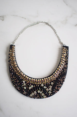Exi Gem Beaded Necklace in Black [47% OFF]