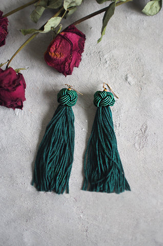 Brea Tassel Earrings in Green