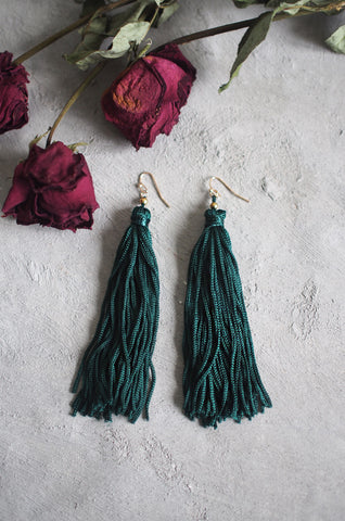 Brea Tassel Earrings in Green [BACKORDER]