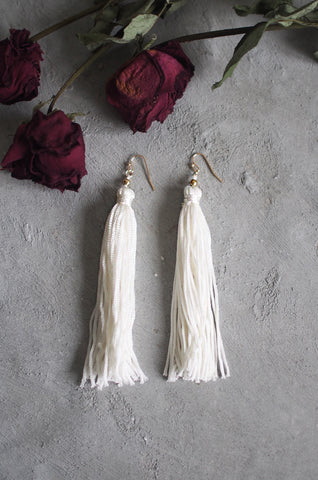 Brea Tassel Earrings in White [BACKORDER]