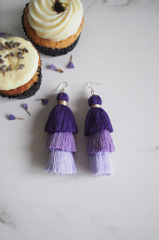 Cloir Layered Tasseled Earrings in Purple