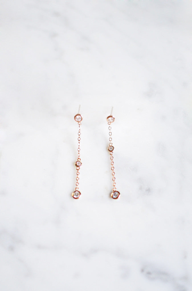 Ciorcal Assymetrical Earrings in Rose Gold