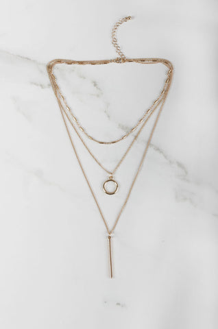 Cis Tri Layered Necklace in Gold [42% OFF]
