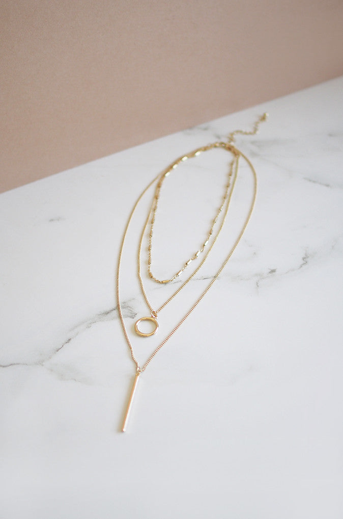 Cis Tri Layered Necklace in Gold
